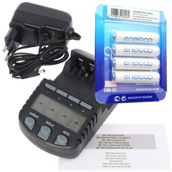 Technoline BC 700 Akku-Ladegerät schwarz mit 4x Panasonic eneloop Standard HR-4UTG und AccuCell AkkuBox AAA Micro