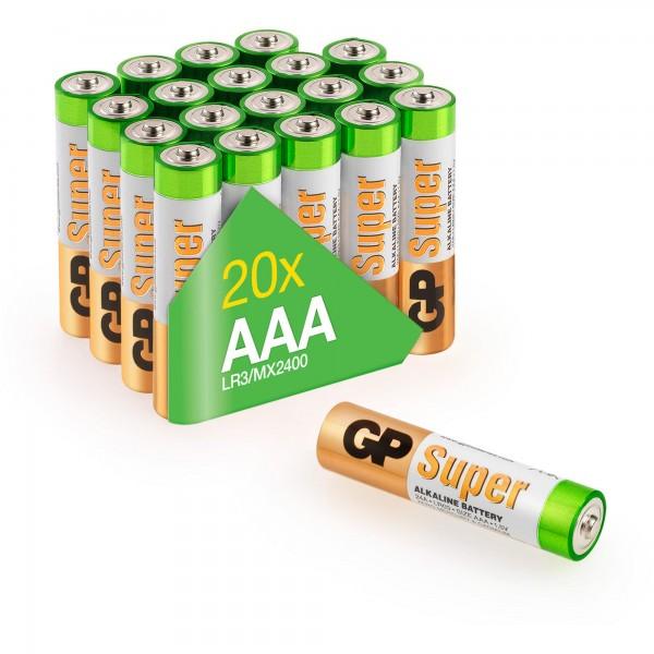 AAA Micro Batterie GP Alkaline Super 1,5V 20 Stück