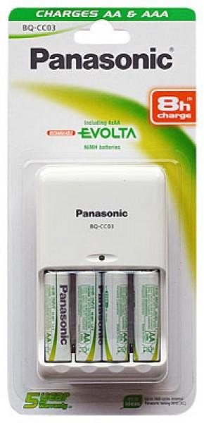 Panasonic Ladegerät BQ-CC03 Timer Quattro inkl. 4 x P6E 2050mAh