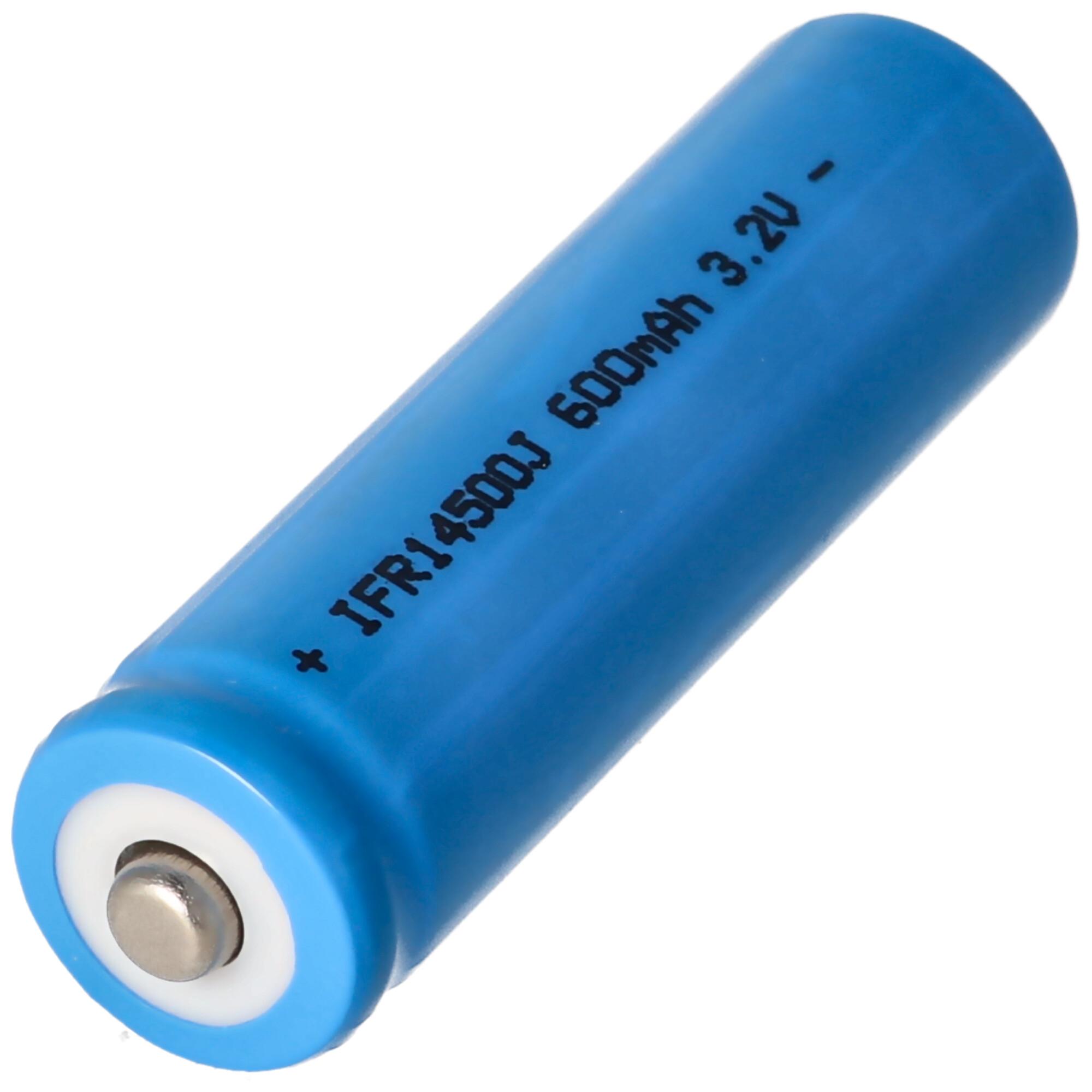 3,2 Volt Solar Akku Lithium IFR 14500 AA 600mAh LiFePo4 Akku