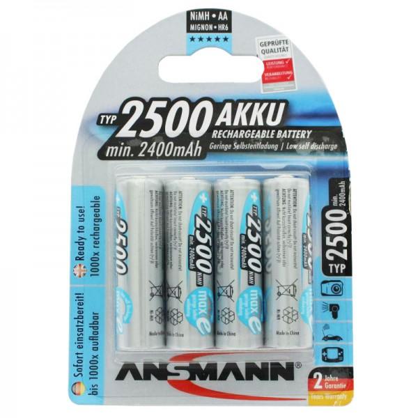 Ansmann maxE Mignon AA 2500mAh Akku im 4er Blister Ready to use vorgeladen