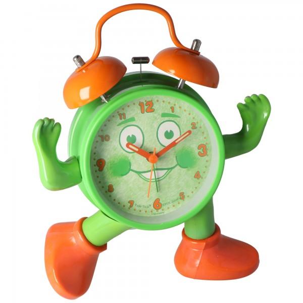 ABC spielerisch die Uhrzeit lernen, Ticki Tack der Kinderwecker grün orange, inklusive Batterie