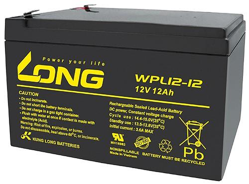 Kung Long WPL12-12 F2 Longlife Blei-Vlies-Akku, 12Volt, 12Ah mit 6,3mm Faston Anschluss