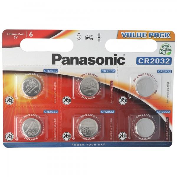 CR2032 Panasonic Lithium Batterie im 6er Sparset, IEC CR 2032, bis zu 10 Jahre lagerfähig