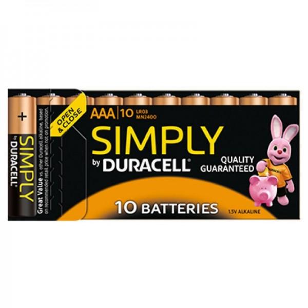 10 Stück Duracell Alkaline Batterien AAA Micro LR03 in Kartonbox
