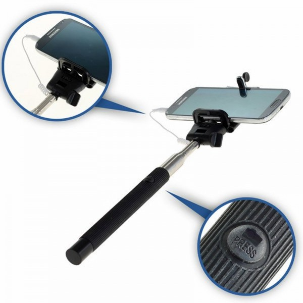 Selfie Maker mit Klemmhalter, Teleskop ausziehbar mit Auslösekopf für Smartphone und ActionCam