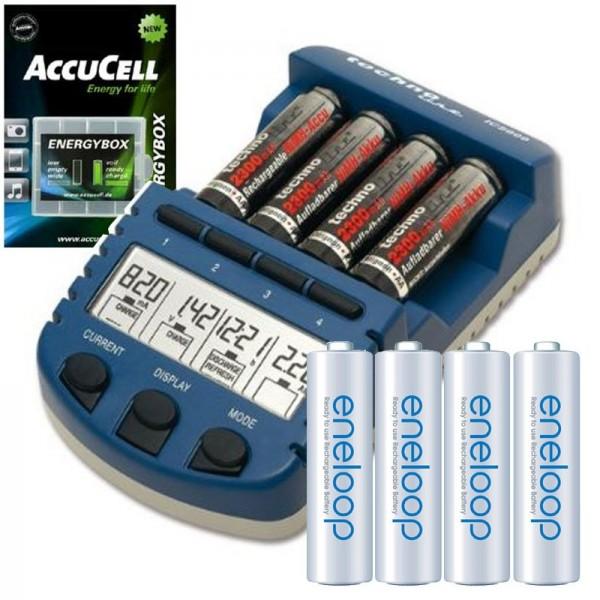 Technoline BC 1000 Akku-Ladegerät blau mit Panasonic eneloop Standard AA Mignon Akkus HR-3UTGB und AccuCell Akkubox