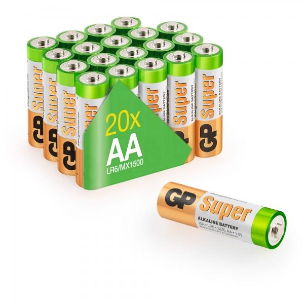 AA Mignon Batterie GP Alkaline Super 1,5V 20 Stück