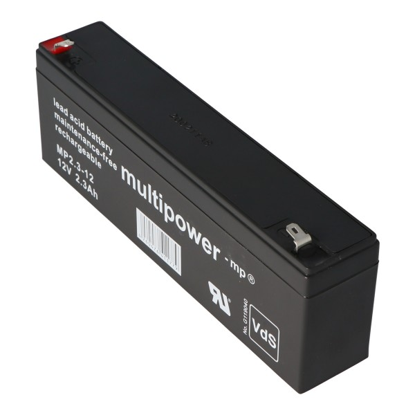 Multipower MP2.3-12 Blei Akku, 4,8mm Faston Stecker, früher Multipower MP2,2-12