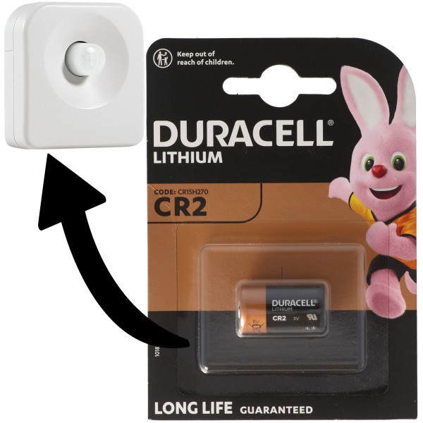 Batterie passend für Ledvance SMART+ Motion Sensor, Osram SMART+ Motion Sensor Bewegungsmelder 1x Duracell CR2 Lithium Batterie