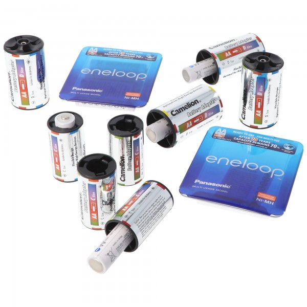 Panasonic eneloop Micro, Mignon und im Adapter Baby, Mono mit AccuSafe Kunststoffkoffer