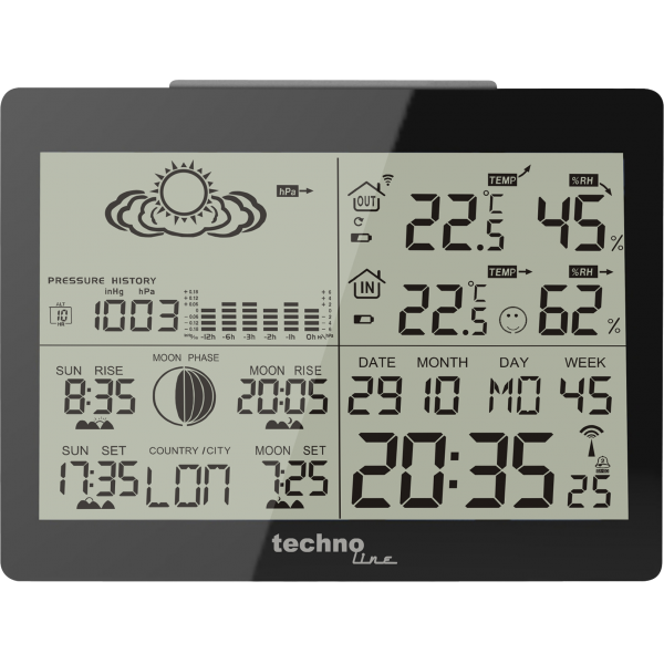 WS 6760 - moderne Wetterstation in schwarzer Hochglanz-Optik