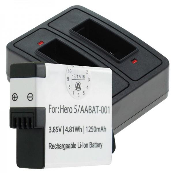 Akku und Dual Ladegerät passend für GoPro Hero5, Hero 5 Black, AABAT-001