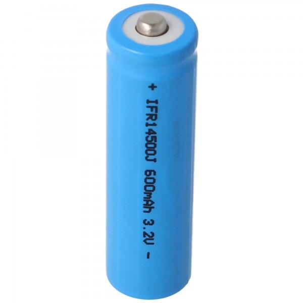 3,2 Volt Solar Akku Lithium IFR 14500 AA 600mAh LiFePo4 Akku mit Kopf ungeschützt 14,2 x 50,6mm