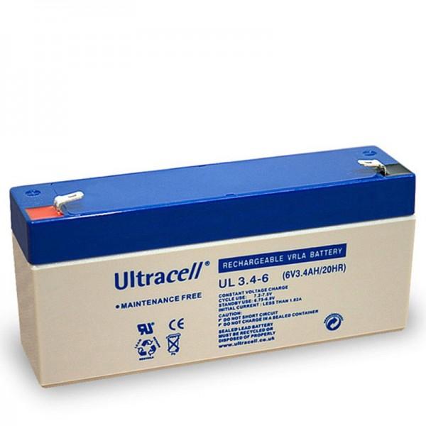 Ultracell UL 3.4-6 Blei Akku mit Faston 4,8mm Kontakten, Abmessungen 134x34x62mm