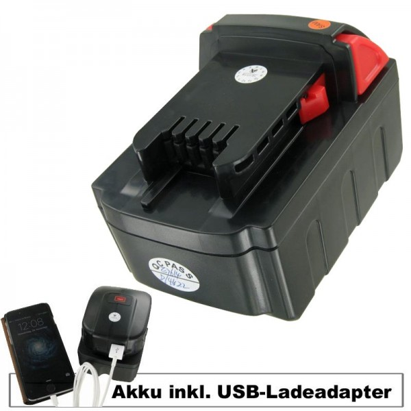 Akku und USB-Ladeadapter passend für MILWAUKEE M18 VC Akku Li-Ion 18 Volt, 4000mAh