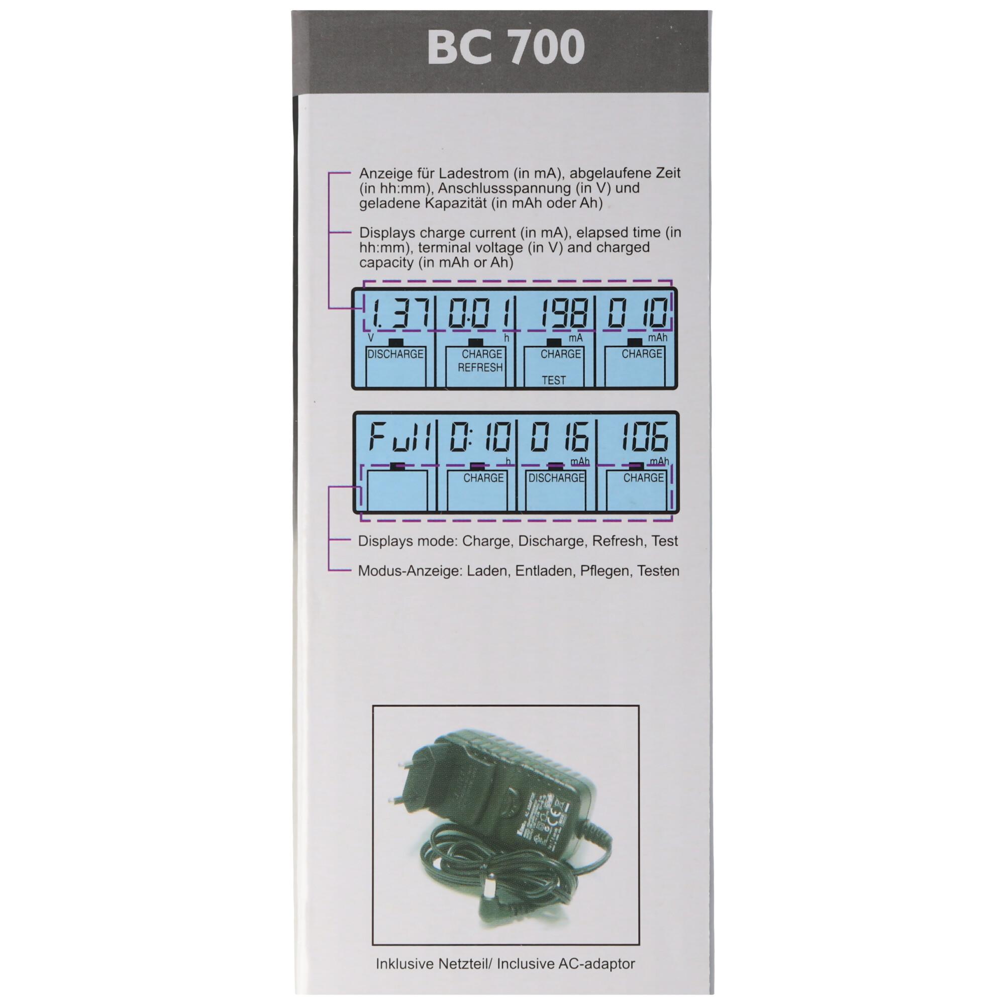 Schnell Ladegerät BC 700 mit Entladefunktion und LCD Display