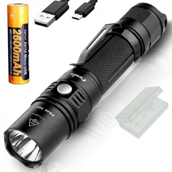 Fenix PD35TAC LED Taschenlampe Cree XP-L (V5) 1000 Lumen, mit Akku und USB-Ladekabel, Akkubox