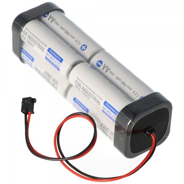 Sender Akku Panasonic eneloop Standard AA 8er Würfel 9,6 2000 mit Kabel und Graupner Stecker