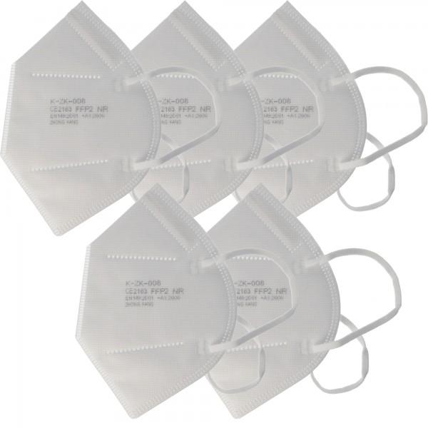 5 Stück Premium FFP2 Maske latexfrei 7-Lagig ohne Ventil, Wochenpackung, zertifiziert nach DIN EN149:2001+A1:2009, partikelfiltrierende Halbmaske, FFP2 Schutzmaske