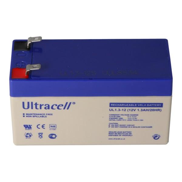 UL1.3-12 Ultracell Blei Akku 12 Volt, 1,3Ah mit 2 Faston 4,8mm Kontakten