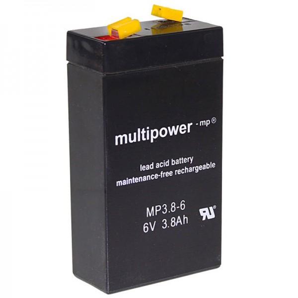 Multipower MP3.8-6 Akku WP3.2-6 Blei 3,8Ah mit 4,8mm Fastonkontakt