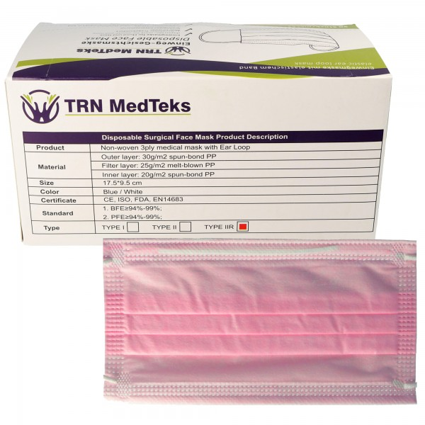50 Stück medizinische OP-Maske Typ IIR 3-Lagig Rosa, zertifiziert nach DIN EN 14683:2019+AC:2019(E), OP-Mundschutz