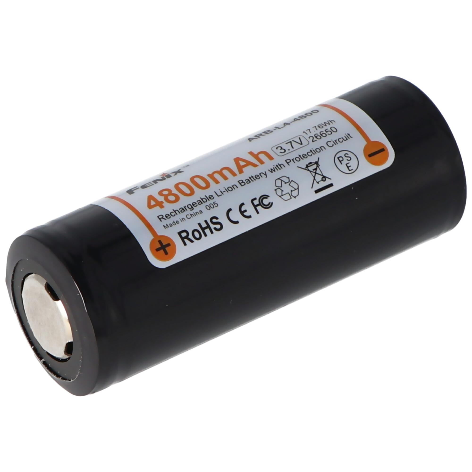 Fenix ARB L4 4800 26650 Li Ion Akku geschützt 3,7 Volt mit