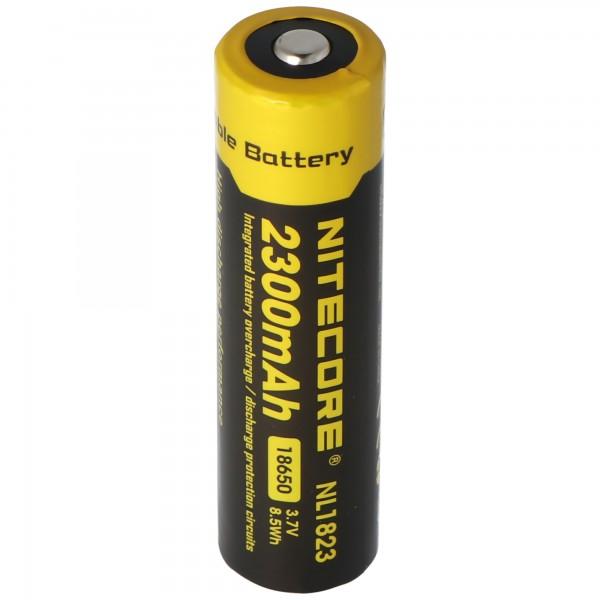 NiteCore 18650 Li-Ion Akku für LED Taschenlampen NL183, CR18650 mit Schutzschaltung, Abmessungen Ø 18,51mm x 69,25mm