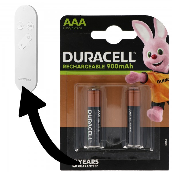 Akku passend für Ledvance Smart+ WiFi Remote 2x Duracell NiMH Akku 850mAh Micro AAA