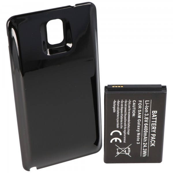 Samsung Galaxy Note 3, Samsung Galaxy Note III, B800BE, B800BU Ersatz-Akku 6400mAh mit schwarzem Gehäuse