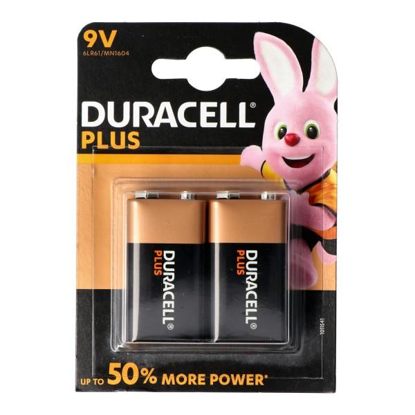 Duracell MN1604 Plus Power 9V Alkaline Batterie E-Block 6LR61 im 2er Blister