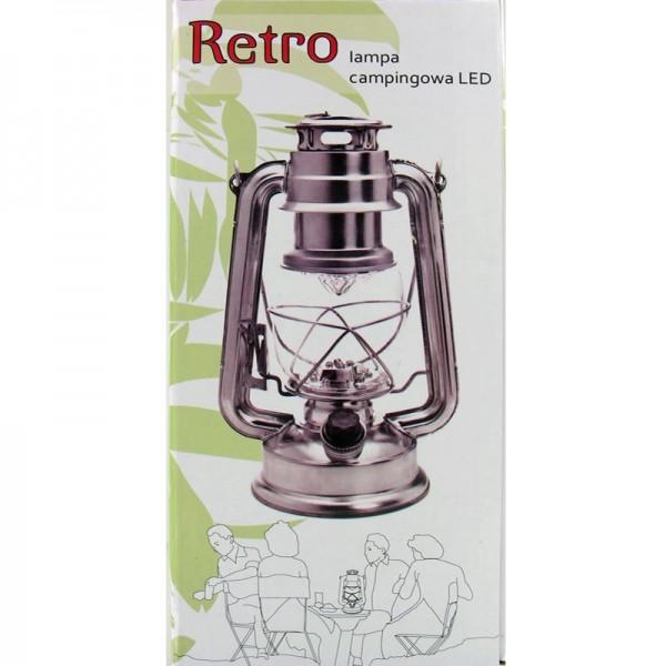 Retro LED Sturm-Laterne Silber mit 12 hellen LED voll dimmbar, Batteriebetrieben