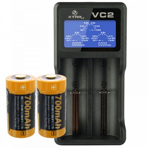 2 Stück CR123A Li Ion Akku mit bis zu 760mAh und USB