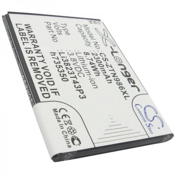 Akku passend für ZTE Blade Q Maxi, Li3823T43P3h735350 3,8 Volt 2250mAh