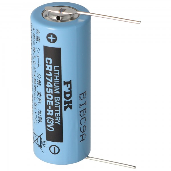 Sanyo Lithium Batterie CR17450E-R Size A, Lötdraht (Lötpaddel) von FDK