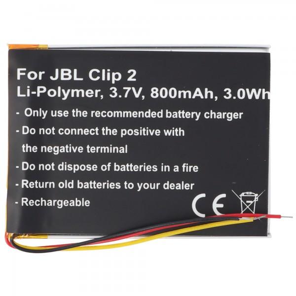 Akku passend für JBL Clip 2 Li-Polymer Akku GSP383555 3,7V, 800mAh, 3,0Wh, built-in, ohne Werkzeug
