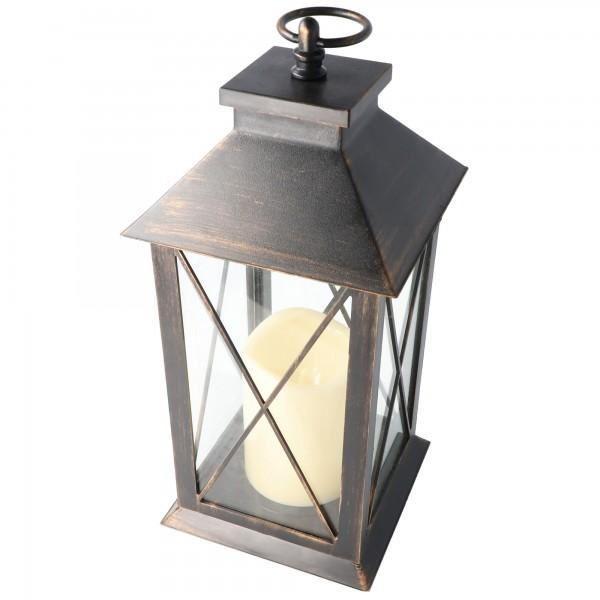 Laterne mit LED-Kerze aus Metall, Metall-Laterne inklusive LED Kerze und Batterien