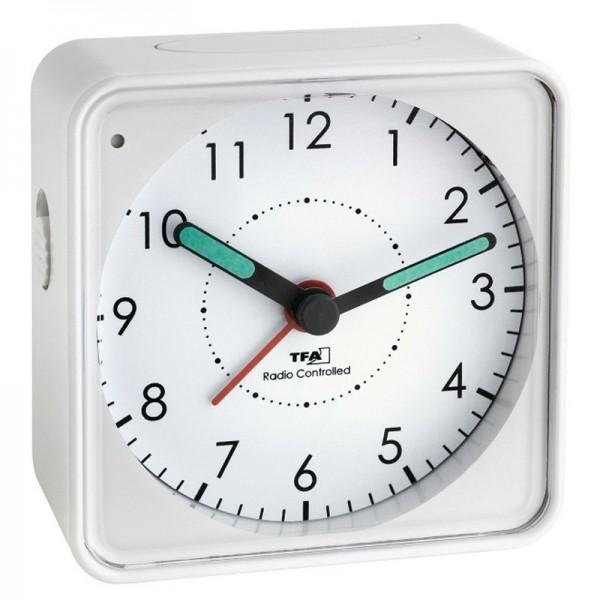 Funk-Wecker Analog mit leisem Uhrwerk, Snooze, weiß inklusive Batterie