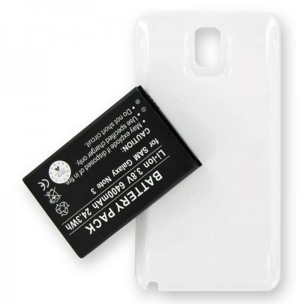 Samsung Galaxy Note 3, B800BE, Ersatz-Akku 6400mAh mit weißem Gehäuse und NFC