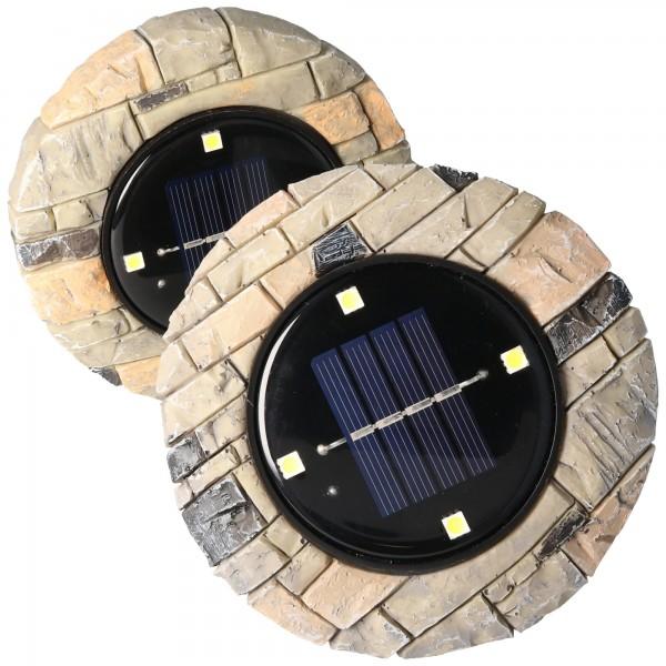 2er Set LED Solar Bodenstrahler, Polyresin, wasserdicht IP44, inklusive NiMH AAA 1,2V 200mAh Akku