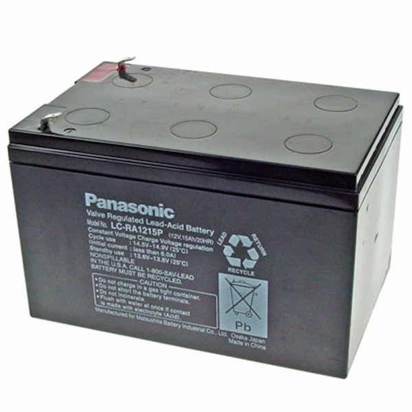 Panasonic LC-RA1215P1 Akku 12 Volt 15Ah, Steckkontakte 6,3mm