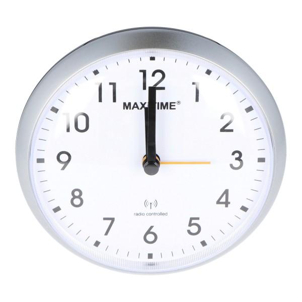 Analog-Funkwecker Silber mit weißem Ziffernblatt, Licht und Snooze