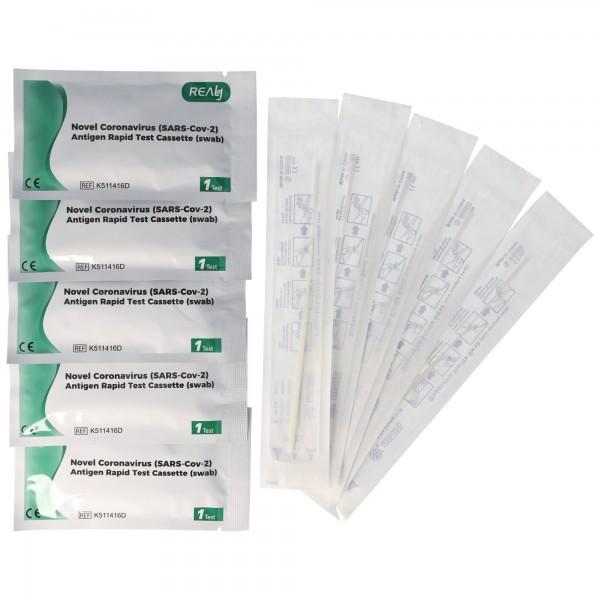 5 Test Kits Novel Coronavirus (SARS-Cov-2) Antigen Schnelltest via Nasopharyngealabstrich (Nasen-Rachen-Abstrich), wie Roche, kein PCR