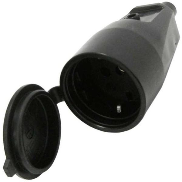 Schutzkontaktkupplung schwarz gummiert mit Deckel