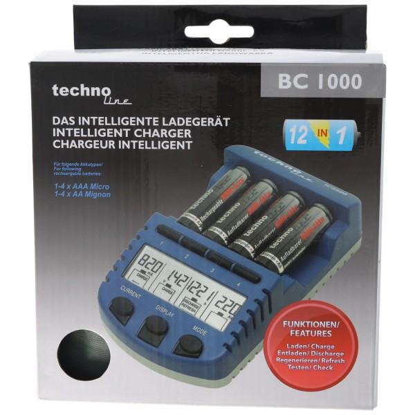 BC1000 Schnell-Ladegerät mit LCD-Display, Entladefunktion, Akku