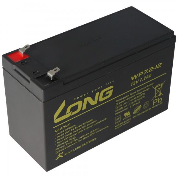 Kung Long WP7.2-12M, 12Volt, 7,2Ah VDS G101163, mit Faston 4,8mm Steckkontakten
