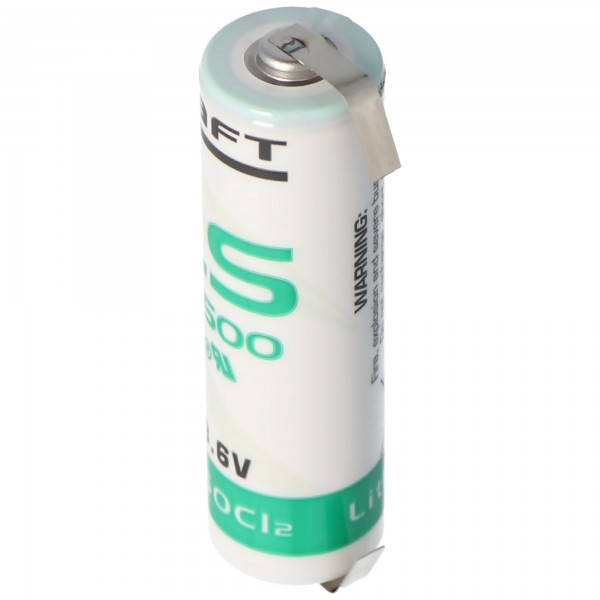 SAFT LS14500CNR Lithium Batterie mit U-Form Lötfahnen
