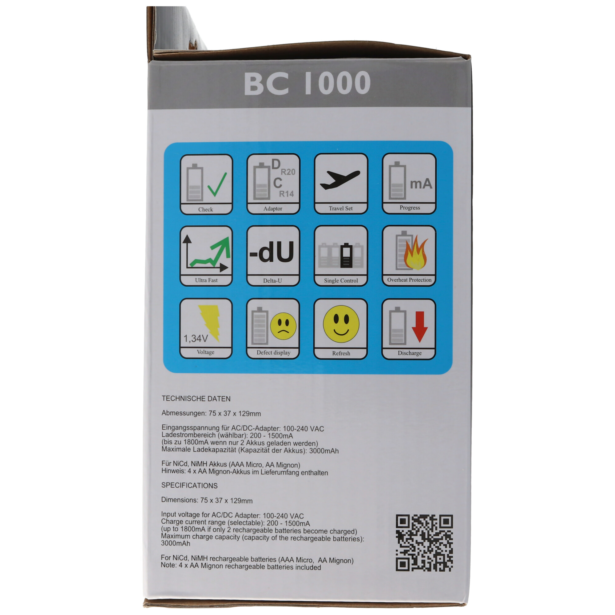 BC900 Schnell Ladegerät mit LCD Display, Entladefunktion