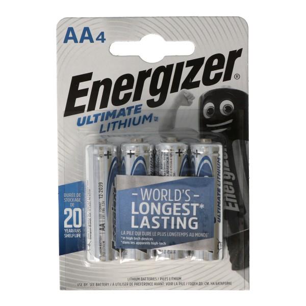 Energizer L91 Lithium Batterie AA 1,5 Volt, 3000mAh 4er Blister MIgnon AA LR6
